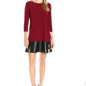 Tiana B. Burgundy-(3/4 sleeve knit swing Dress)
